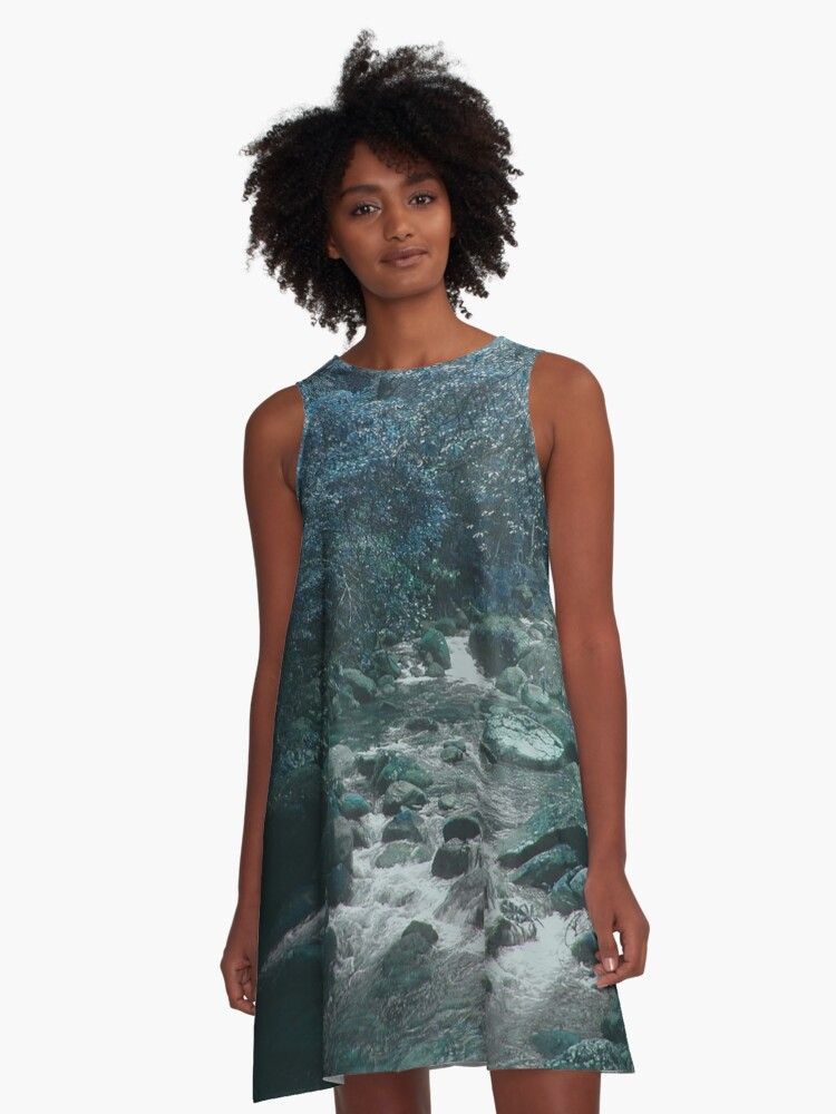 Mossman Gorge in Blue A-Line Dress Front