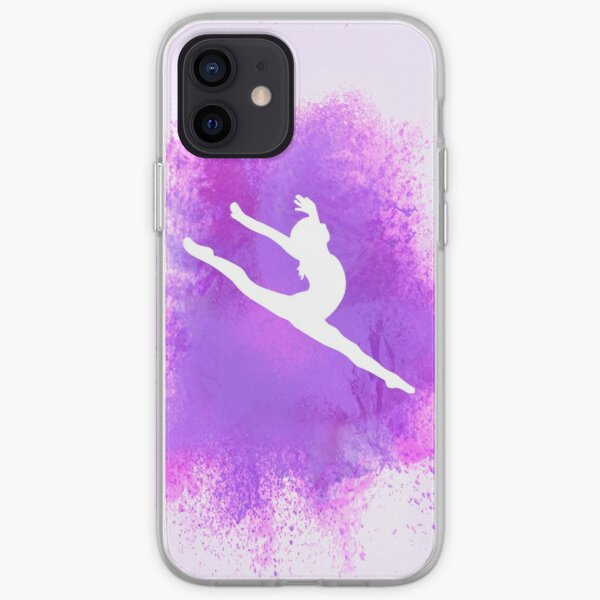 Gymnast Silhouette - Purple Explosion iPhone Soft Case