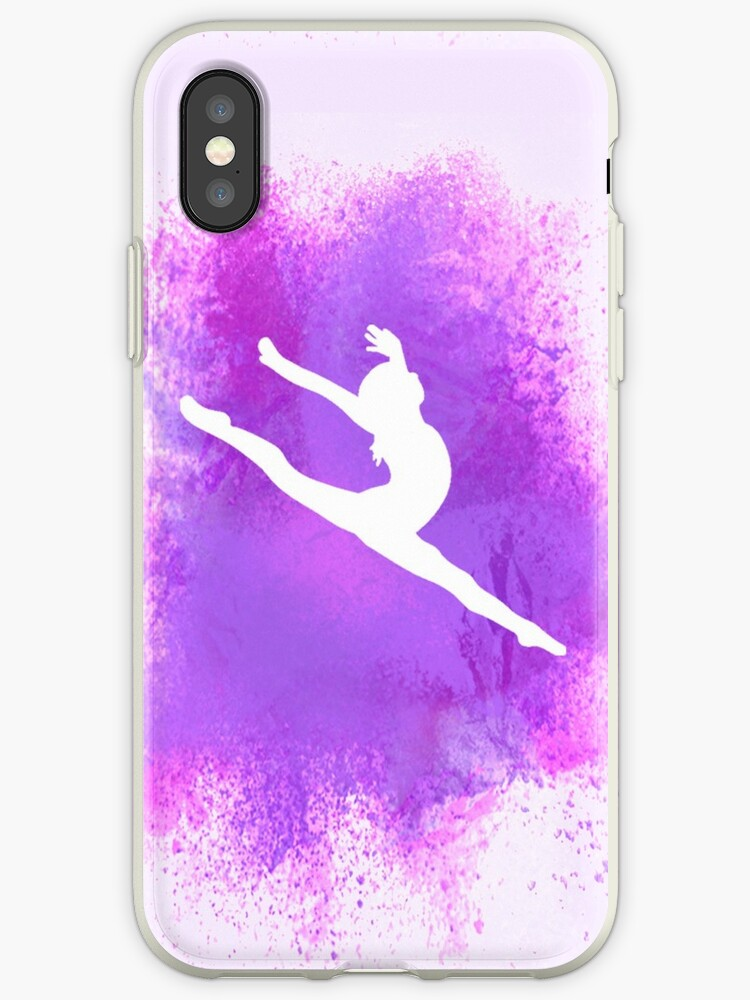 sale retailer 35147 f15bf 'Gymnast Silhouette - Purple Explosion' iPhone Case by Flexiblepeople