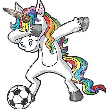 Dabbing Unicorn Soccer Rainbow by frittata