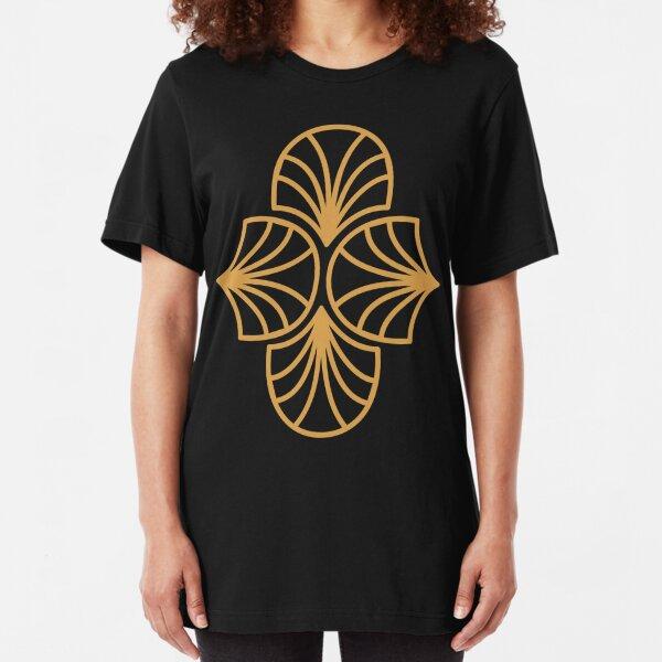 Geometric Pattern: Art Deco: Curve Outline: Gold/Black Slim Fit T-Shirt