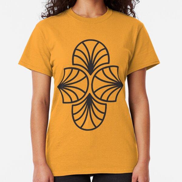 Geometric Pattern: Art Deco: Curve Outline: Black/Gold Classic T-Shirt