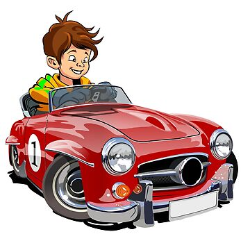Cartoon retro sport car with driver by Mechanick