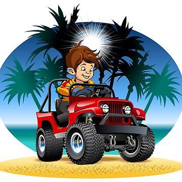 Cartoon boy driving 4x4 car on the beach by Mechanick