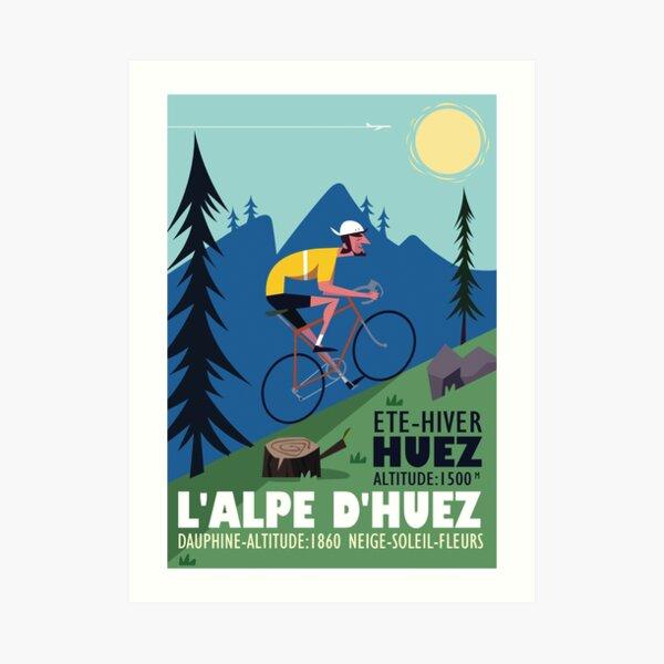 L'Alpe D'Huez Cyclist poster Art Print