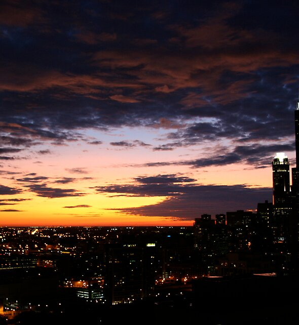 Sun Sets Over Chicago by Whitney Edwards