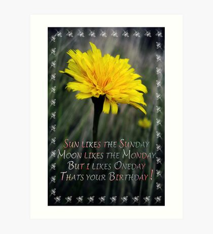 Yellow Birthday Art Print