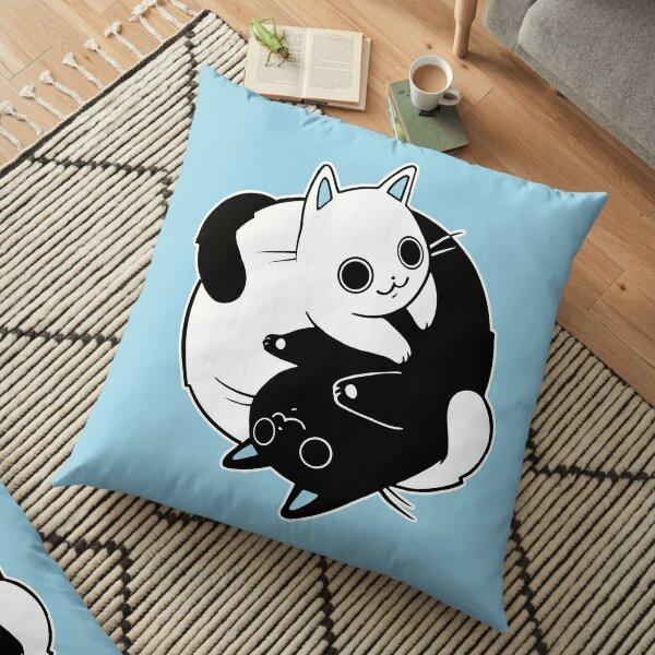 When Opposite Kitties Attract Floor Pillow