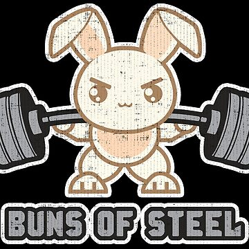 Buns of Steel - Weight Lifting Bunny Cartoon - Squat by mchanfitness