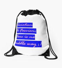 Socialism or Fascism - antifascist - 90s hipster tee Seinfeld colors Leftist Socialist Drawstring Bag