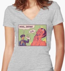 Mail, Satan! Women's Fitted V-Neck T-Shirt