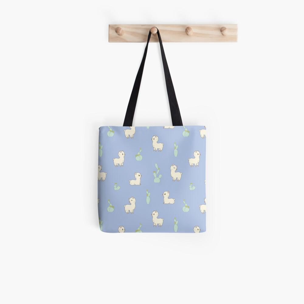 Cactus and alpaca pattern in blue  Tote Bag
