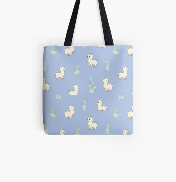 Cactus and alpaca pattern in blue  All Over Print Tote Bag