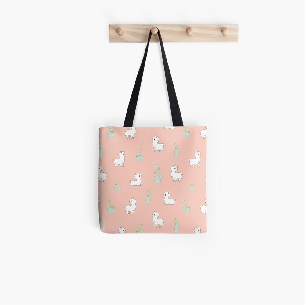 alpaca and cactus pattern in peach pink  Tote Bag