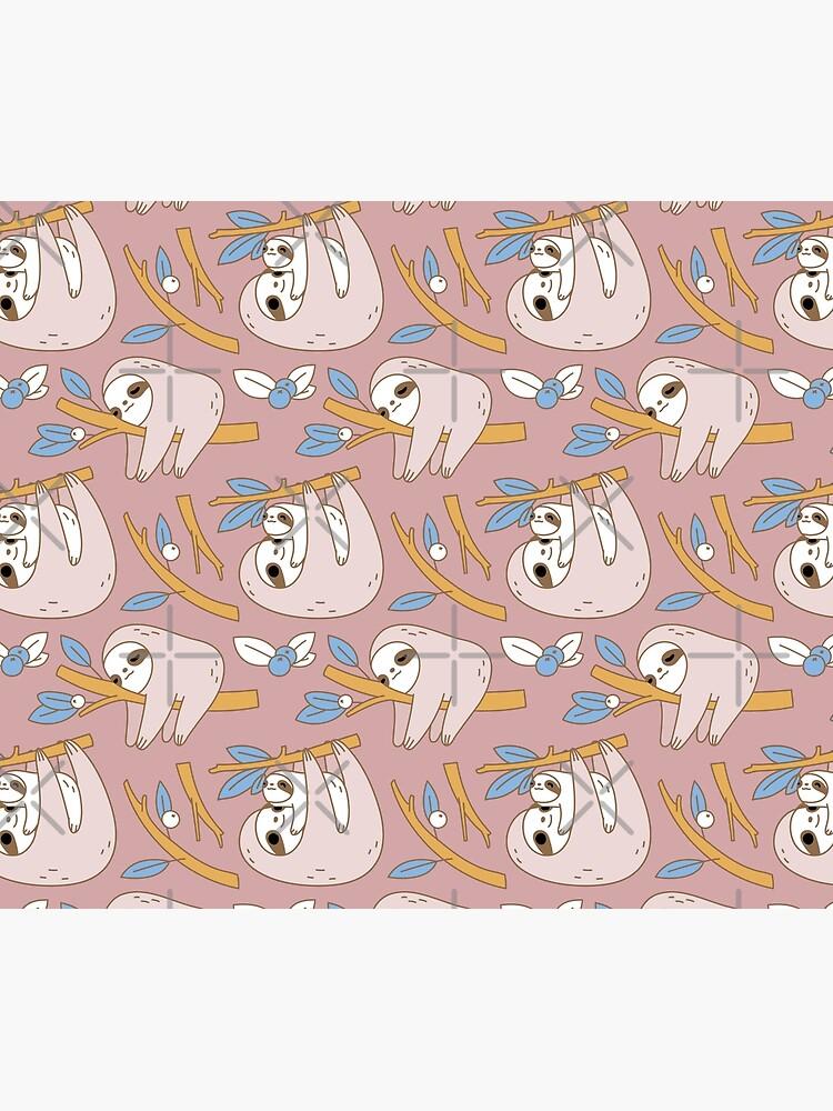 Sloth Pattern in Pink  by Miri-Noristudio