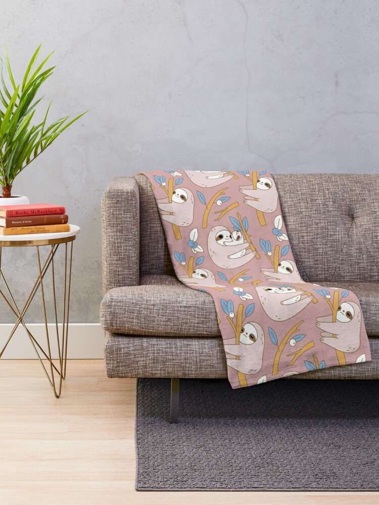 Alternate view of Sloth Pattern in Pink  Throw Blanket