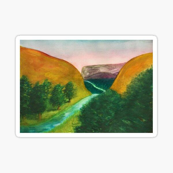 Canyon Stream - original painting by mjh, 2018 Sticker