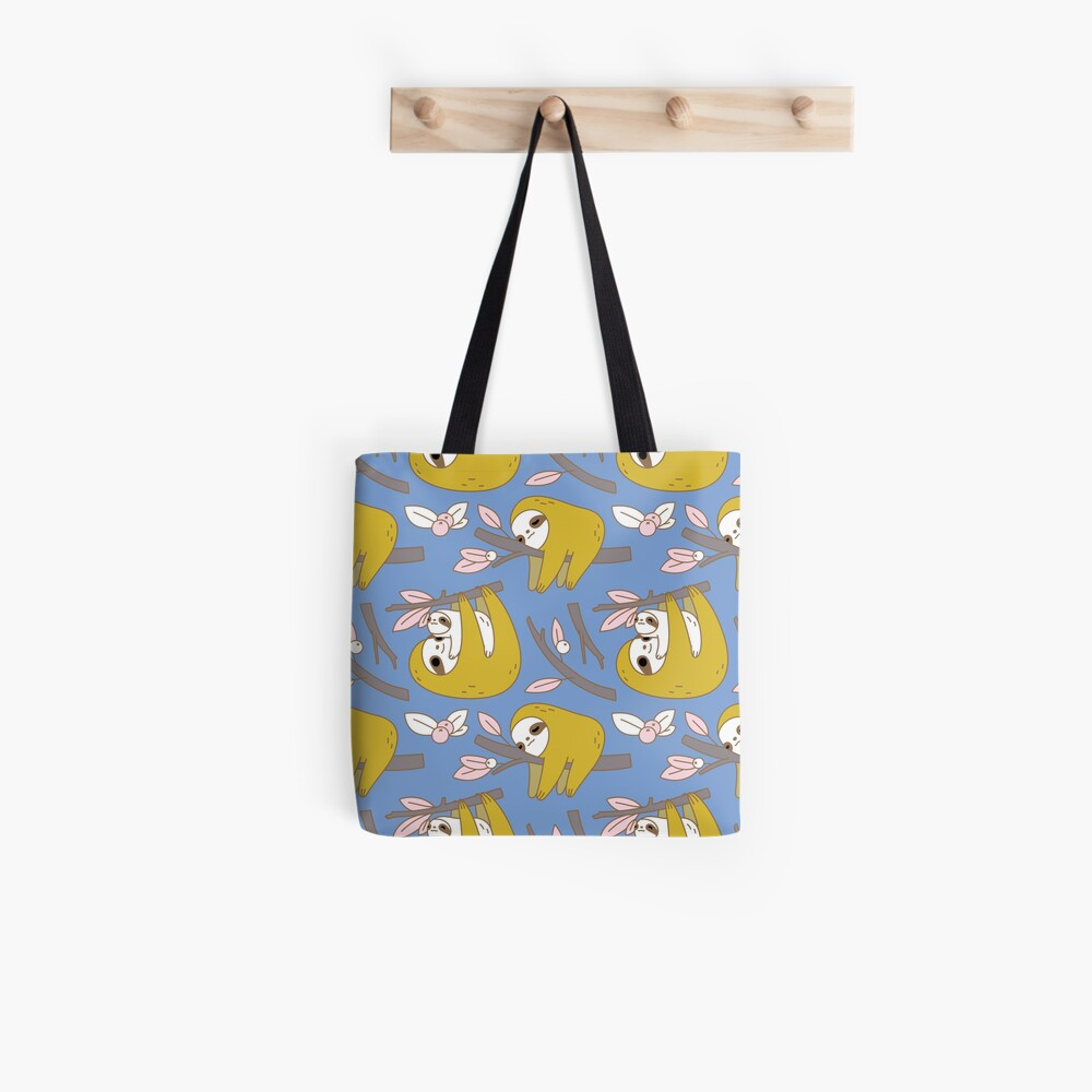 Sloth Pattern in Blue Tote Bag