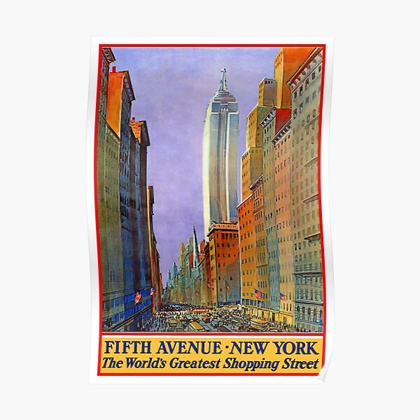 5th Avenue NY - Vintage Poster Poster