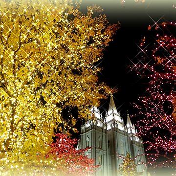 Evening Lights in Salt Lake City - Christmas by Sita