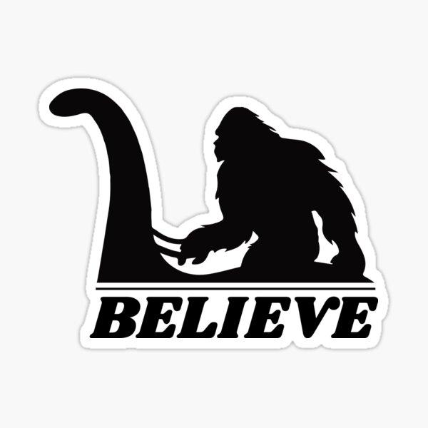 bigfoot sasquatch riding lochness monster nessie Sticker