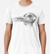 Rabbit, Duck, illusion, Is it a Rabbit or is it a Duck? Optical illusion, visual illusion Männer Premium T-Shirts