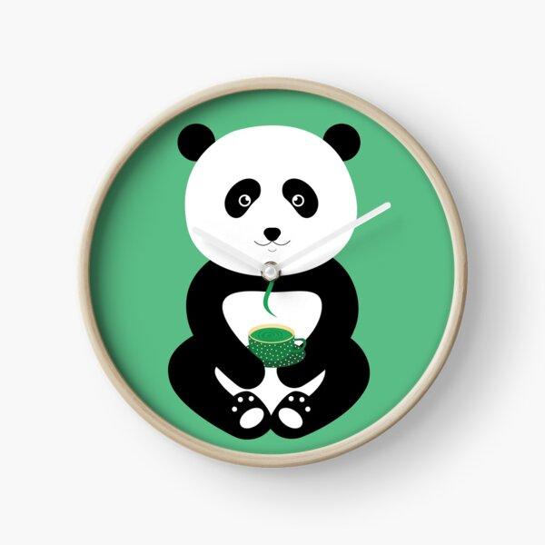 Enjoy green tea with the panda Clock