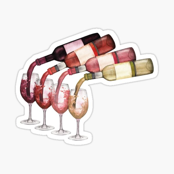 Watercolor red, white and rose wines pouring from bottles into glasses standing on a wooden table Sticker