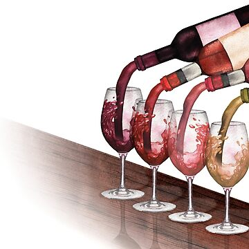 Watercolor red, white and rose wines pouring from bottles into glasses standing on a wooden table by Glazkova