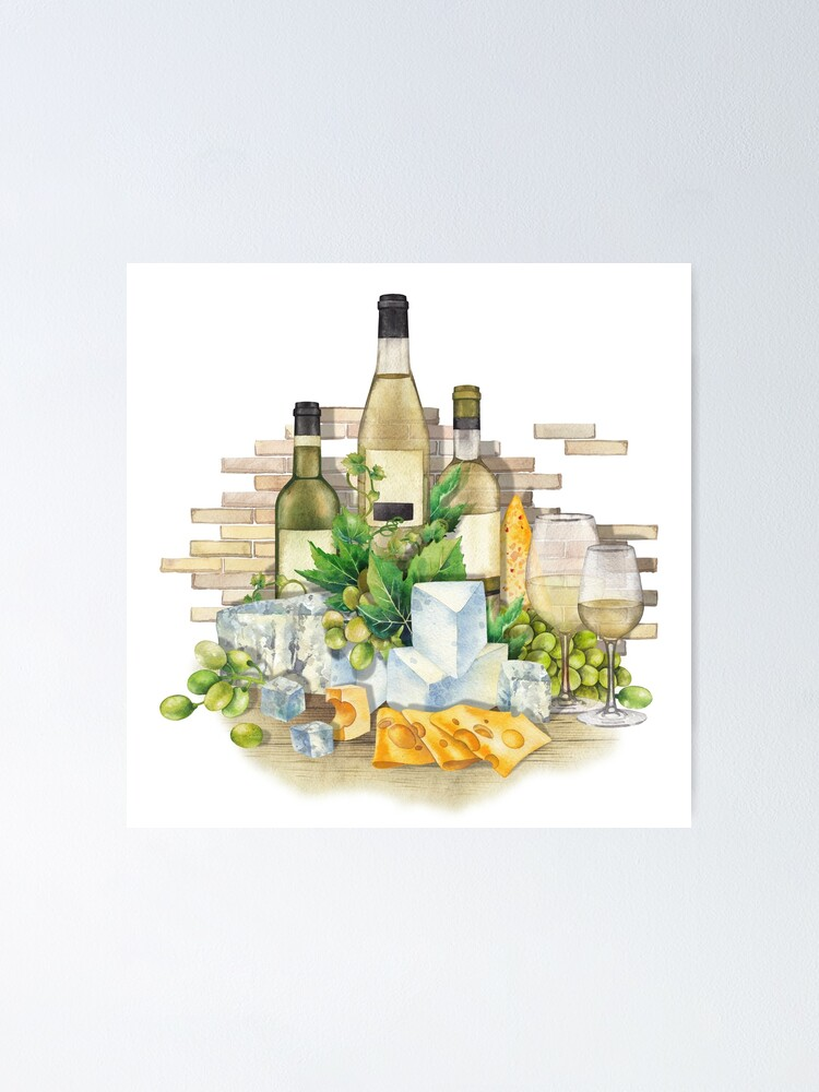 Watercolor Glasses Of White Wine Bottles Grapes And Cheese Poster By Glazkova Redbubble