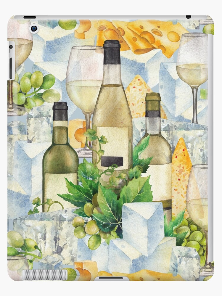 Watercolor Glasses Of White Wine Bottles Grapes And Cheese Ipad Case Skin By Glazkova Redbubble