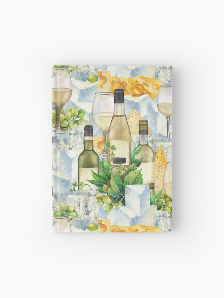 Watercolor Glasses Of White Wine Bottles Grapes And Cheese Hardcover Journal By Glazkova Redbubble