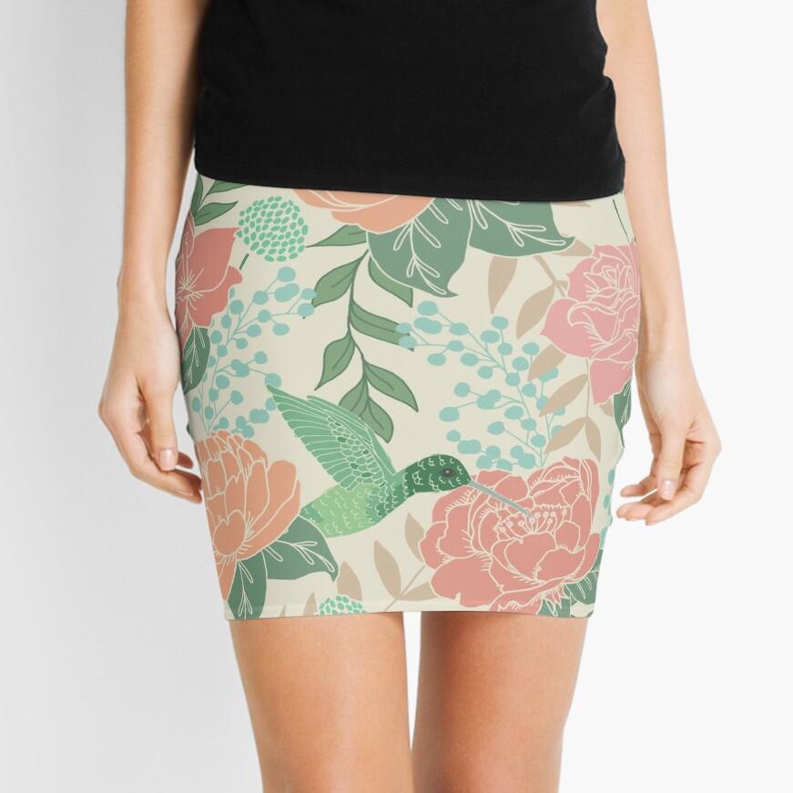 Victorian Flower Garden with Hummingbird Mini Skirt