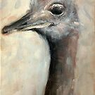 Painted Ostrich portrait by Julie Mayo
