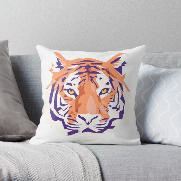 Geometric Clemson Tiger Throw Pillow