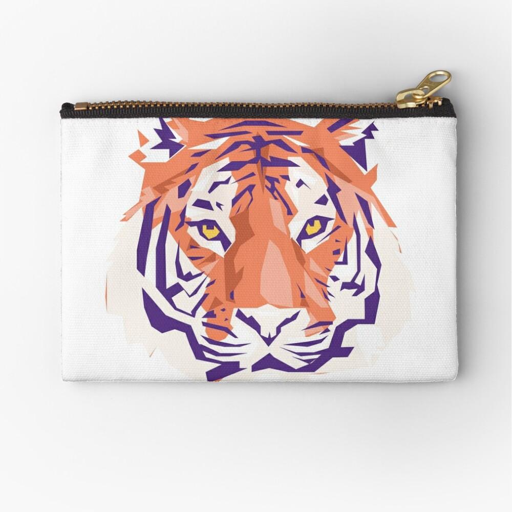 Geometric Clemson Tiger Zipper Pouch