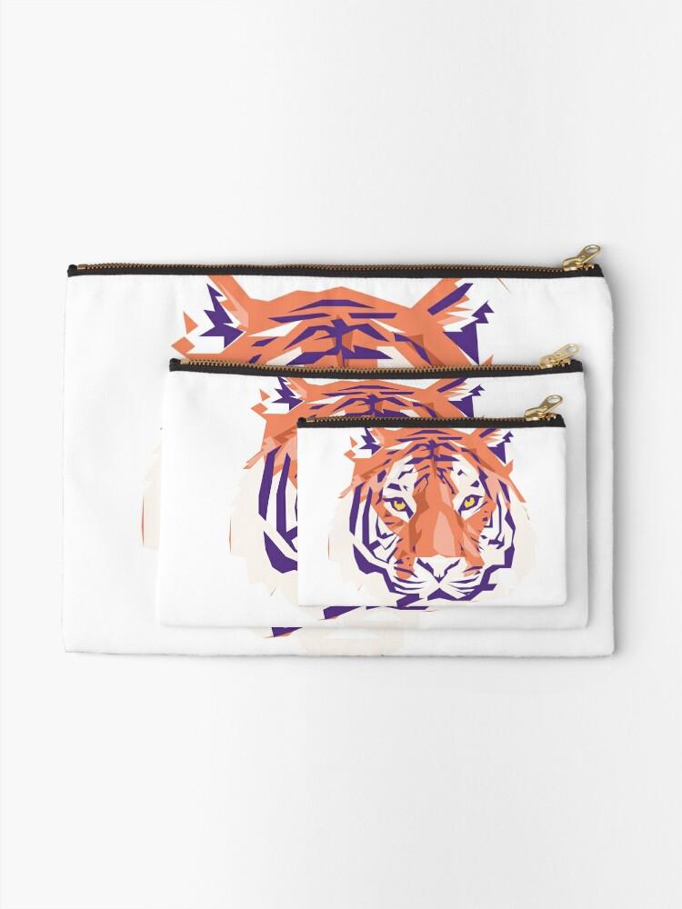 Alternate view of Geometric Clemson Tiger Zipper Pouch