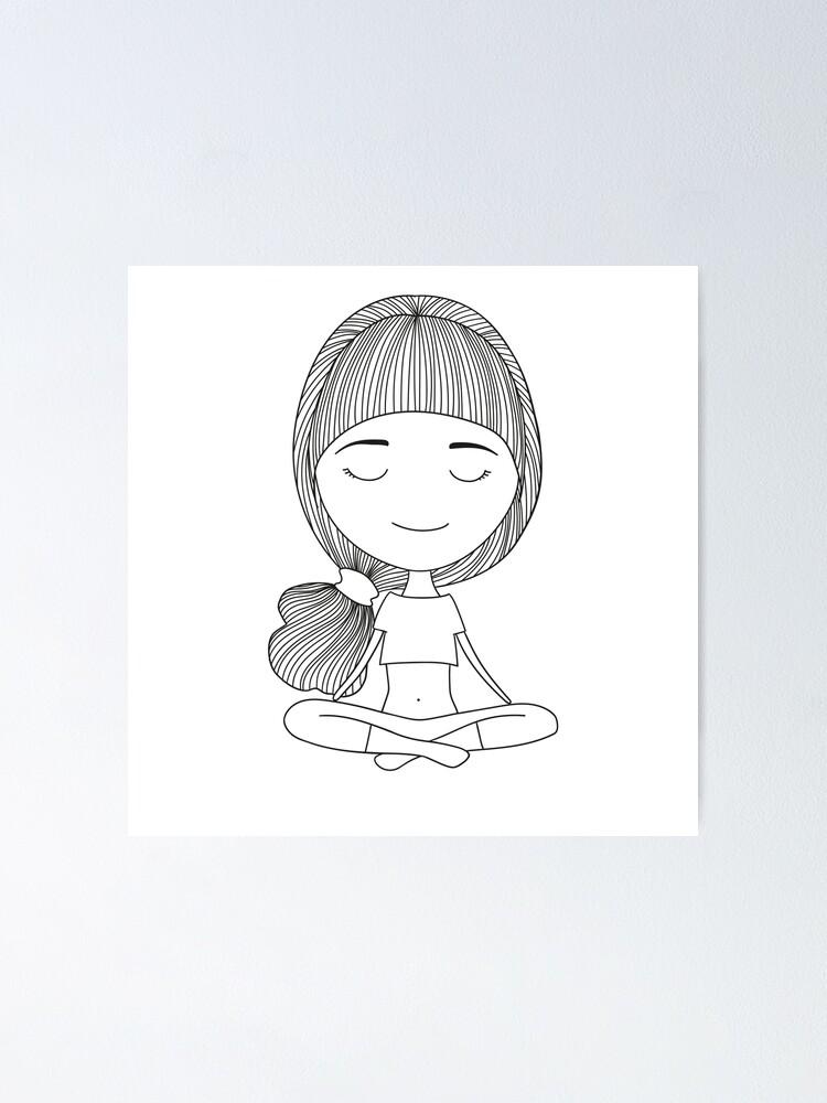 Yoga Cartoon Drawn Girl Poster By Klivenkova Redbubble