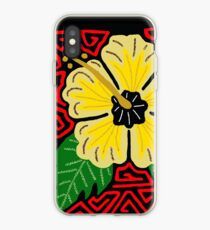 Yellow hibiscus w/red swirl mola iPhone Case