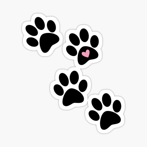 Paw Print with heart Sticker