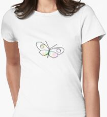 Wire Butterfly Womens Fitted T-Shirt