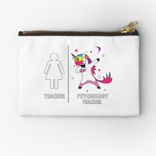 Psychology Teacher Unicorn Dabbing Funny Gift  Zipper Pouch