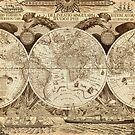 Antique world map with sail ships, sepia by blursbyai