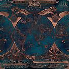 Rose gold and cobalt blue antique world map with sail ships by blursbyai
