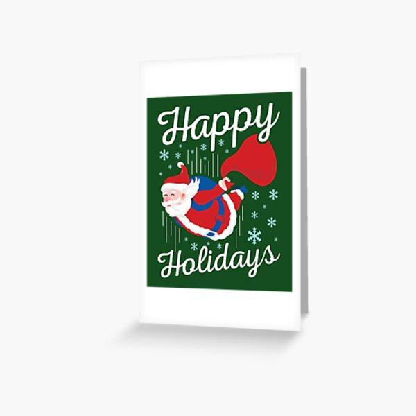 Parachutisme Noël Santa Parachute Carte de vœux