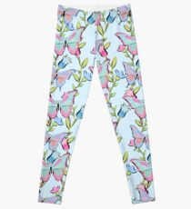 Cute Seamless Blue and Pink Butterfly Pattern Leggings