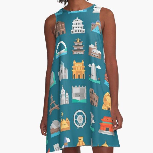 CUTE FAMOUS MONUMENTS PATTERN A-Line Dress