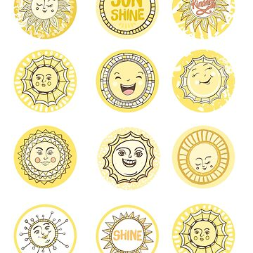 You are my Sunshine, Happy Sun Emojis by carriestephens