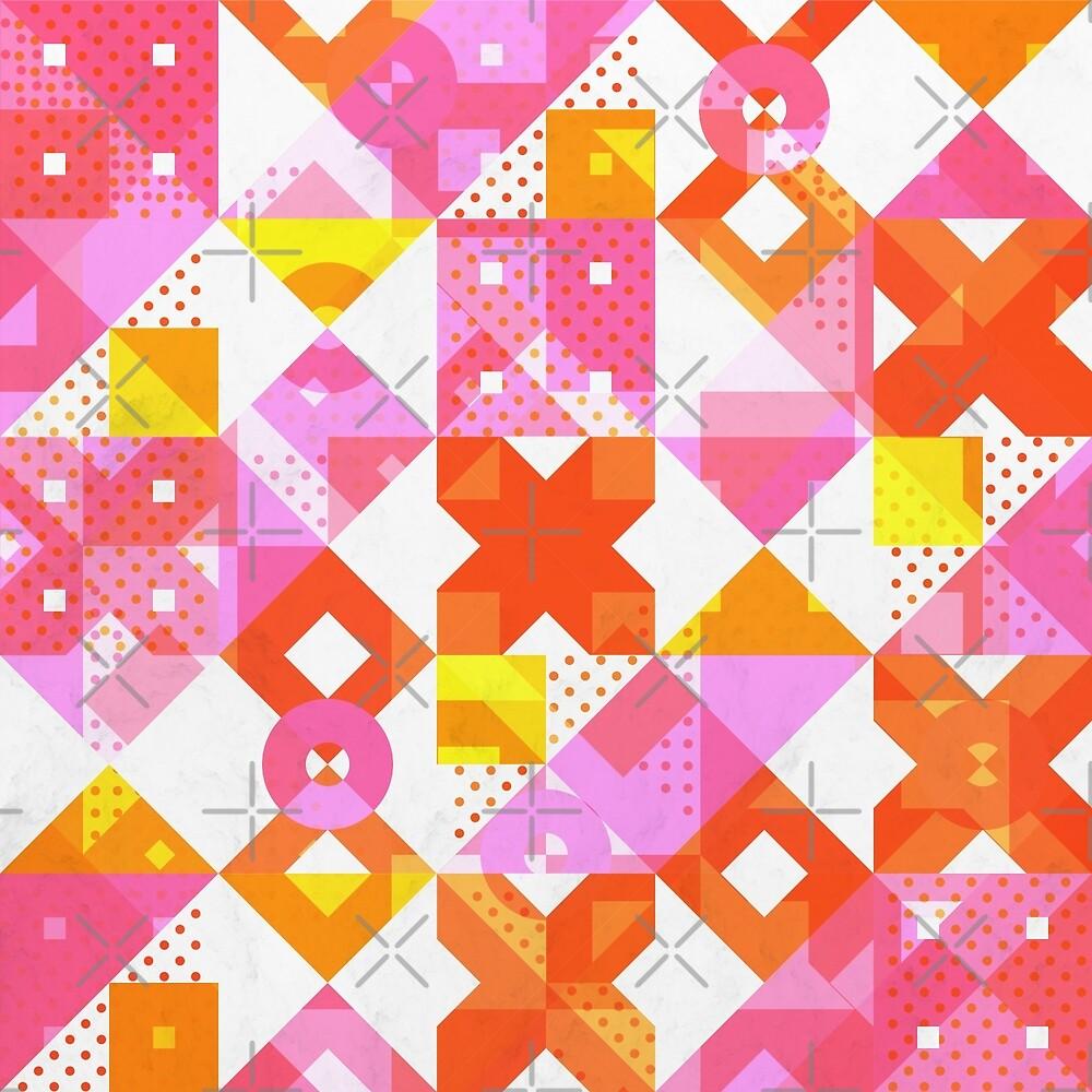 X Square Bubblegum Geometric Pattern by tobiasfonseca
