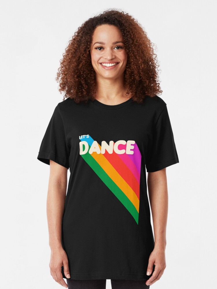 Alternate view of Rainbow dance typography Slim Fit T-Shirt